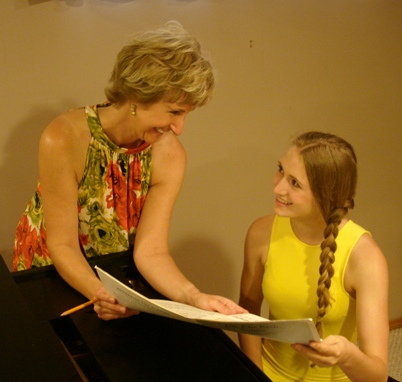 Jacqueline discussing a score with one of her advanced students